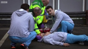 holby city harry accident